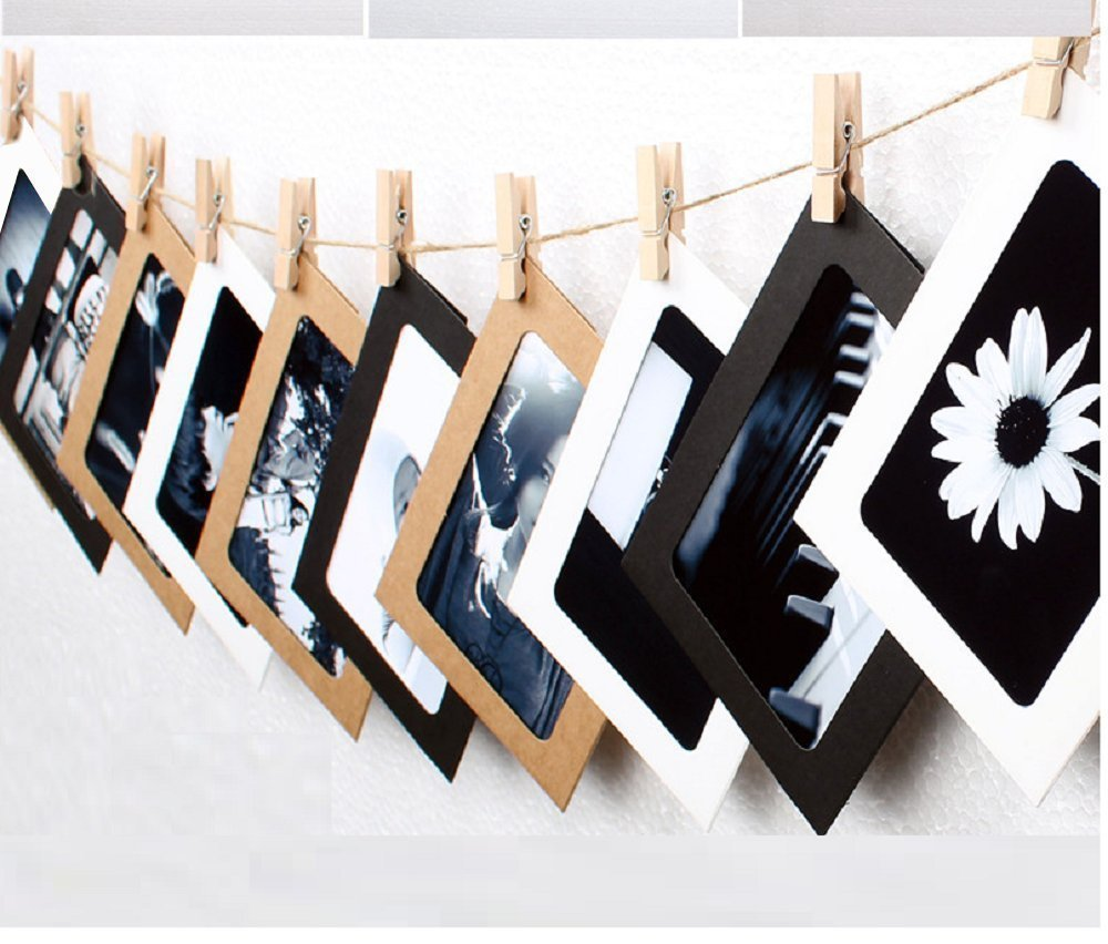 ITTA 3 Pack / 30 pcs Paper Photo Frame, Hanging Picture Display Wall Decor with Mini Clothespins and Hemp Ropes - Fits 5x 7 Pictures (3 Color) Yayihe YH-PPFR-2001