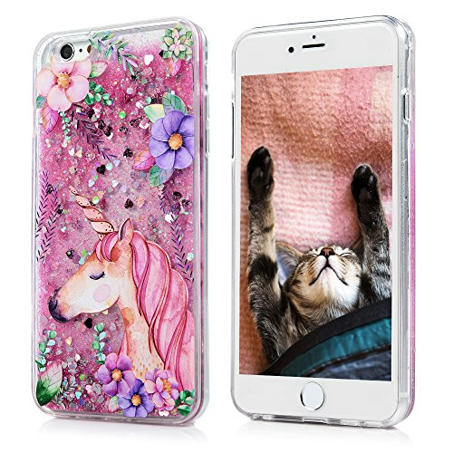 iPhone 6s Plus Case, iPhone 6 Plus Case, Maviss Diary Emboss Printed Colorful Pattern Clear Quicksand Cover Moving Liquid Stars Sequins Flowing Floating Hard PC Back TPU Frame Slim Shell Unicorn