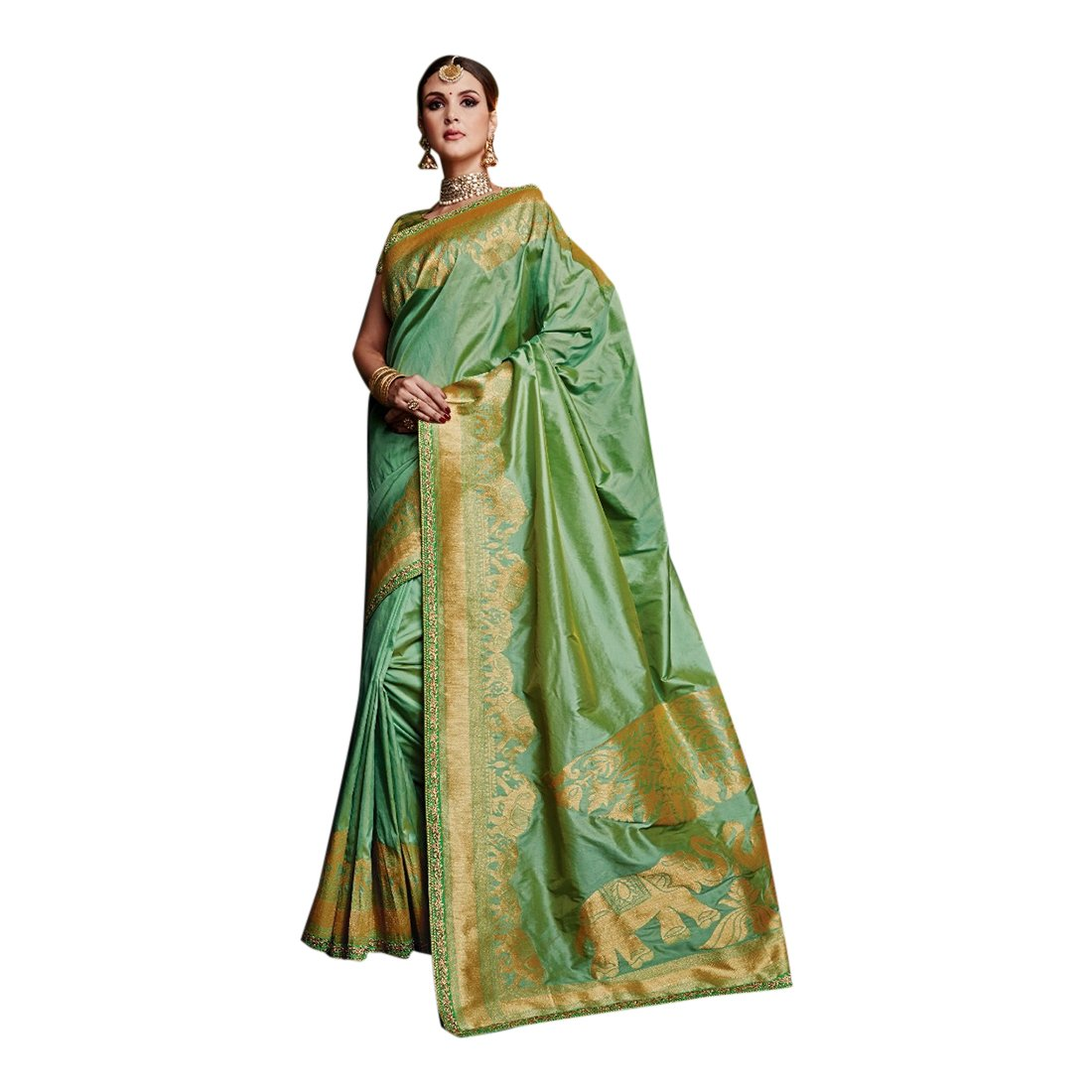 Designer Collection Stylsih Royal Silk Saree Blouse Indian Wedding Sari Women Muslim Eid 2797