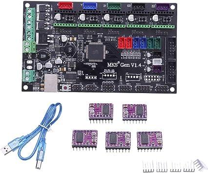 ILS MKS-Gen V1.4 - Placa de Impresora 3D + 5 Drivers DRV8825 ...