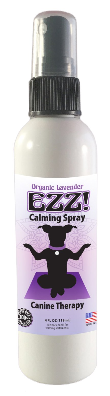 EZZ! Canine Calming Spray- Organic Lavender Aromatherapy Dog Calming Aid - Safely Soothe Your Dog with EZZ- 4 oz