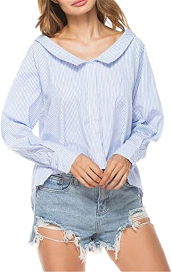 BESTHOO Camisa Mangas Largas Mujer Camiseta A Rayas Oficina Blusa Casual Elegante Blouses Suelto Oversize T Shirt Bonitas Joven: Amazon.es: Ropa y accesorios