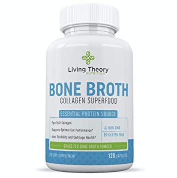 Bone Broth Capsules - Organic & Grass-Fed Collagen Capsules Superfood Powder - 120 Count
