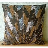 "Luxury Chocolate Brown Pillow Shams, Geometric Sequins & Beaded Pillow Shams, 24""x24"" Pillow Shams, Square Silk Shams, Art Deco Pillow Shams - Glamorous Spalsh"