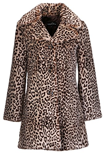 Enjoy Fur Women's Leopard Print New Style Faux Fur Coat (Small) by Enjoy fur
