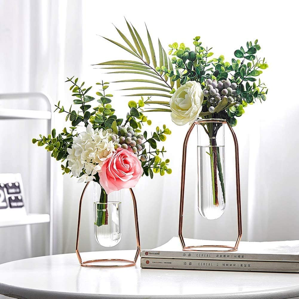 Aousthop Geometric Flower Glass Vase Decor,Centerpiece Plants Vase with Iron Art Frame, Metal Terrariums Clear Cylinder Vases Decorations for Living Room Wedding Office,Rose Gold 2 Pcs (Rose Glod)