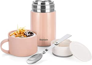 Insulated Lunch Container Hot Food Jar 20oz , Stainless Steel Vacuum Bento Lunch Box for Kids Adult with Spoon Leak Proof Hot & Cold Food for School Office Picnic Travel Outdoors (Pink)