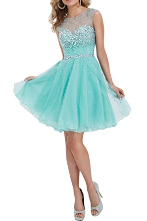 304d720cbcd Sunvary Gorgeous Rhinestone Chiffon Homecoming Cocktail Gowns Short Size 2-  Pale Blue