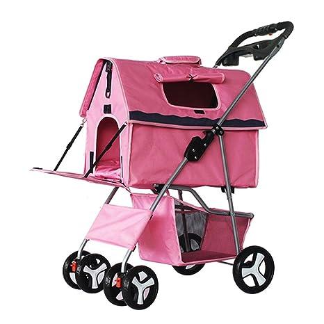shanzhizui Cochecito para Mascotas Carros para Perros Doblez Extraíble y Lavable Dividido Bolsa de Coche para