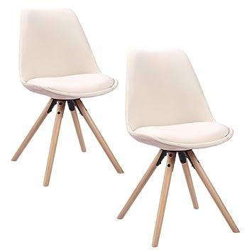 HENGMEI Juego de 2 sillas de madera retro del comedor Sillas Piernas de cocina para comedor y sala de estar, oficina (Modelo F,) Modelo F Beige