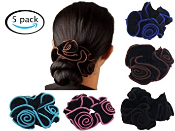 Amazon.com   Scrunchies Hair Bands Ties Elastic Bobbles Rose Flower  Ponytail Holder Hair Accessories 2361ce1bfdb