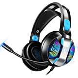Stereo Gaming Headset with 7.1 Surround Sound, PHOINIKAS Pro PS4 Headset with Noise Canceling Microphone & RGB Light…