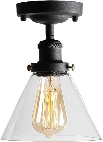 XIDING Industrial Vintage Classic Semi Flush Mount Ceiling Light Fixtures, Farmhouse Lighting Clear Glass Pendant Lighting Shade, Edison Style Metal Glass Hanging Lights 1-Light
