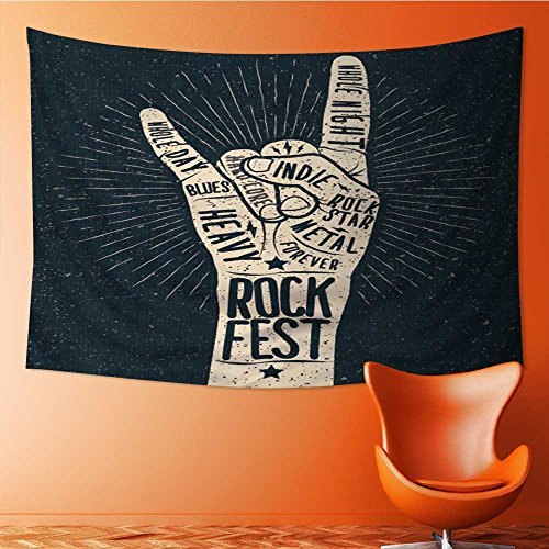 Styled Poster Bed - AmaPark Art Hippie Tapestry Rock Festival Poster Flyer Vector Hand Draw Styled Illustration Bedspread Picnic Bedsheet Tapestry 60W x 40L Inch