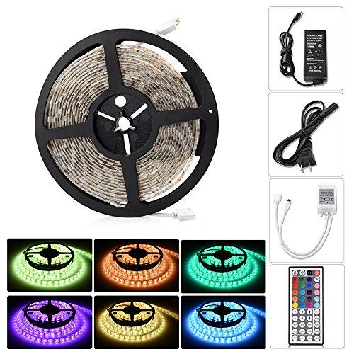 LED Light Strip Kit, Ledgle Rope Light Flexible Waterproof 16.4ft,300 LEDs SMD5050 Color Changing RGB Strip Lighting Remote Control for Party, Holidays, Decorations