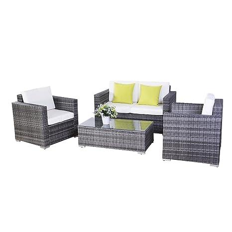 Conjunto muebles de jardín de Ratán Hierro Mesa con vidrio+ ...