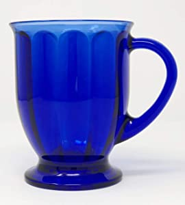 Anchor Hocking Cafe America Oversized Coffee Mug - Scalloped Optic Cobalt Blue
