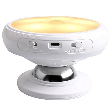 SODIAL Luz de noche de sensor de movimiento, Base de iman desmontable, USB recargable LED, Induccion del cuerpo humano Luz de noche de rotacion de 360 ...