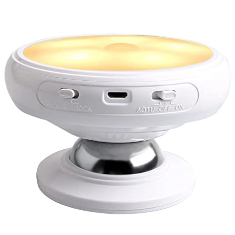 SODIAL Luz de noche de sensor de movimiento, Base de iman desmontable, USB recargable