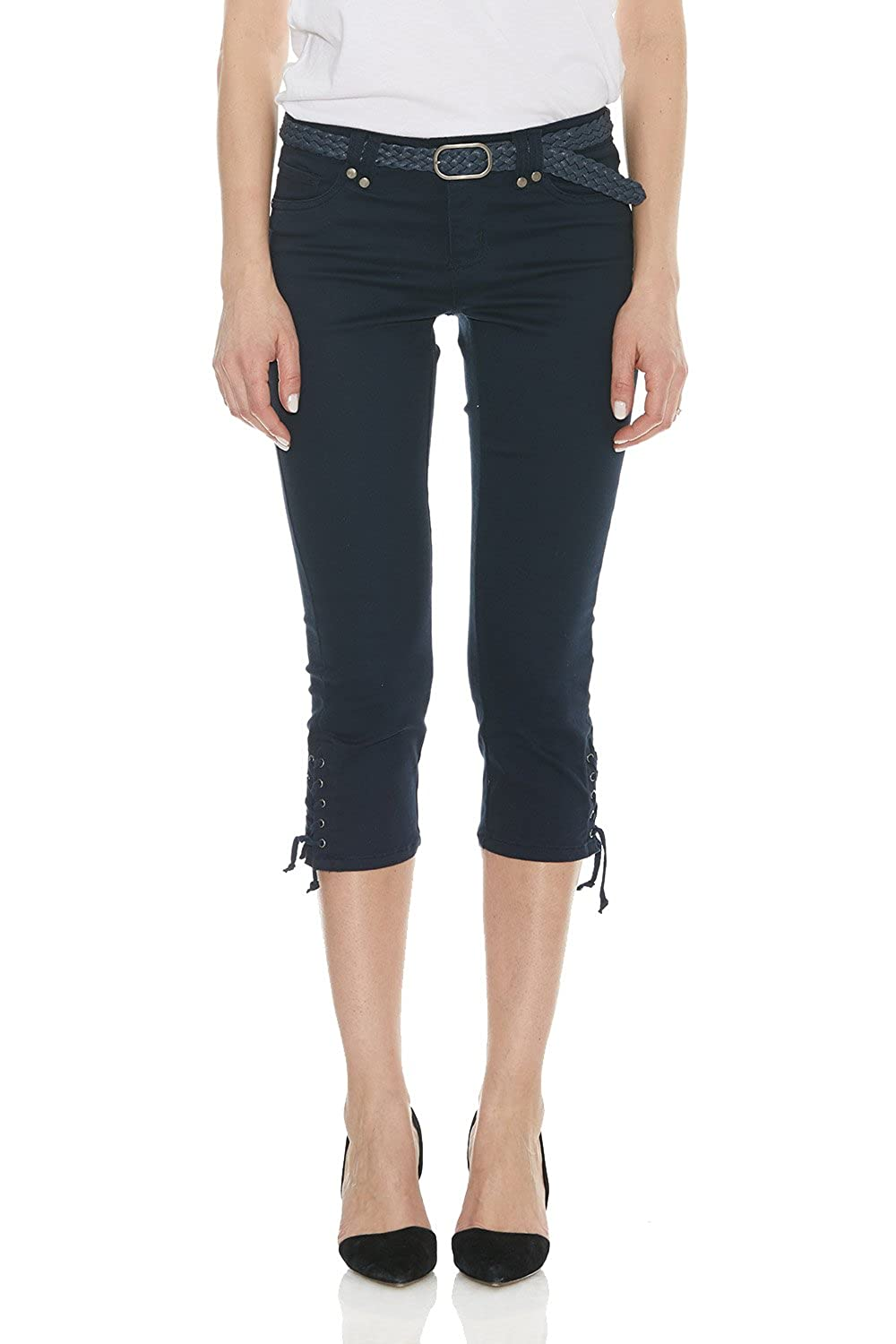 12520abe38 Suko Jeans Women s Capri Pants - Power Stretch - Flattering - Braided Belt  at Amazon Women s Clothing store