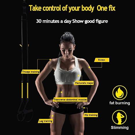 DEHUB Entrenamiento en Suspensión,Suspension Trainer Bandas en Casa Fitness,Adecuado para Entrenamiento Muscular,Ejercicio Aeróbico,Mejora la ...