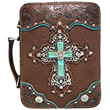Western Style Embroidered Scripture Bible Verse Cover Books Case Cross Extra Strap Messenger Bag