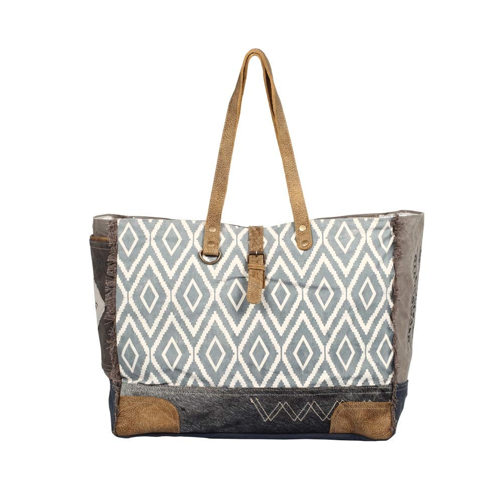 Myra Bag Tapesty Upcycled Canvas Weekender Bag S-1307