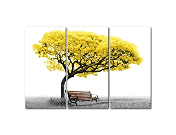 Canvas Wall Art Paintings For Home Decor Yellow Tree Park Bench In Black  And White 3