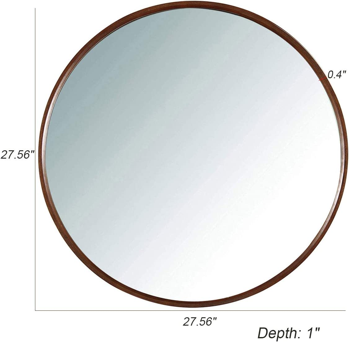 TinyTimes 27.56 Large Wall Mirror, Round Vanity Mirror, Wooden Frame, Clean, Wall Decor, for Entryways, Living Rooms, Bathroom and More, Circle Wall Mirror Dark Brown