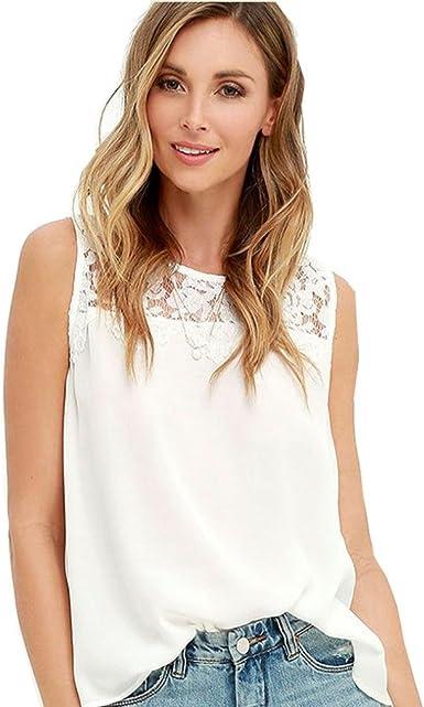 SMARTLADY Mujer Camisetas sin Mangas Ocasionales del Gasa Encaje Blusa