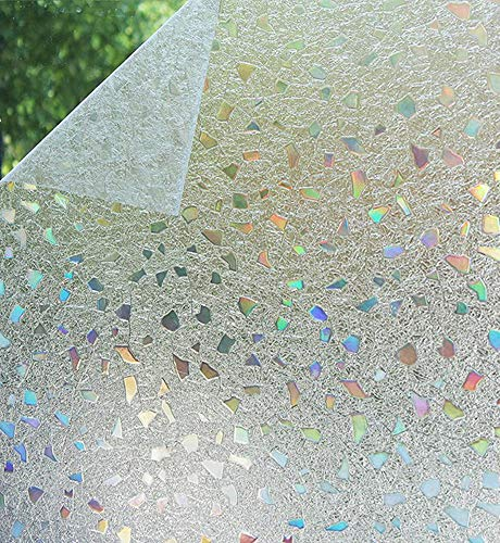 Bloss 3D Static Cling Window Film Stained Glass Window Film Decorative Frosted Window Clings Vinyl Window Covering 17.7Inch x 78.7Inch 1 - Light Unicorn Frosted