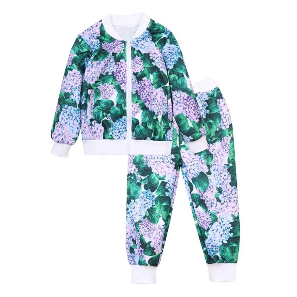 Pollyhb Baby Girl Boy Clothes Set, Kids Baby Floral Print Zipper Tops Coat Pants (12-24 Months, Mint Green)