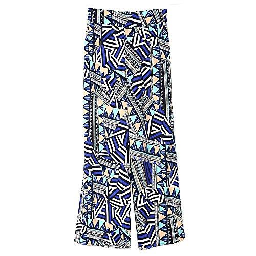 Imprimé Pantalon Large Femme Pour Avec Elastique Jambe Plage Taille Haute De Voyage Poche Acvip I Casual xSwFqC