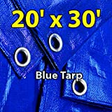 20'x30' Blue Multi-purpose 6ml Waterproof Poly Tarp Cover with Tent Shelter Camping Tarpaulin By Prime Tarps