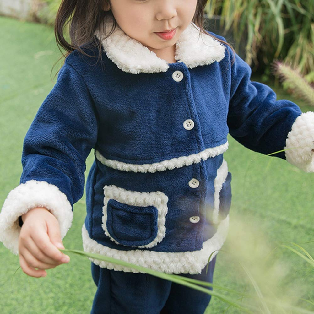 2 Colors Optional Nightclothes Child Winter Thicken Pyjamas Lapel Splicing Color Girl Loose Cotton Pyjamas Home Clothing Set Practical Casual Clothing ZAYSY XRXY Pyjamas