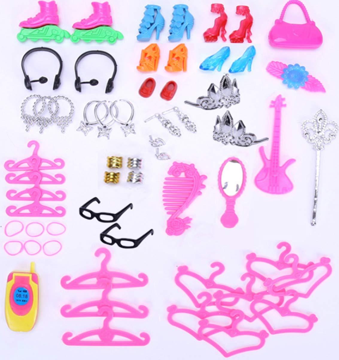 liuer 98PCS Kleidung zubeh/ör Set F/ür 30CM Barbie Puppen Puppe Puppen Zubeh/ör Set Mini Schuhe Kleiderb/ügel Stand Halter Puppenwagen Fahrrad Reinigungswerkzeuge f/ür Kinder Geschenk Zuf/ällig