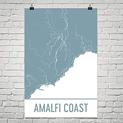 Amazon Com Amalfi Coast Map Amalfi Coast Art Amalfi Coast