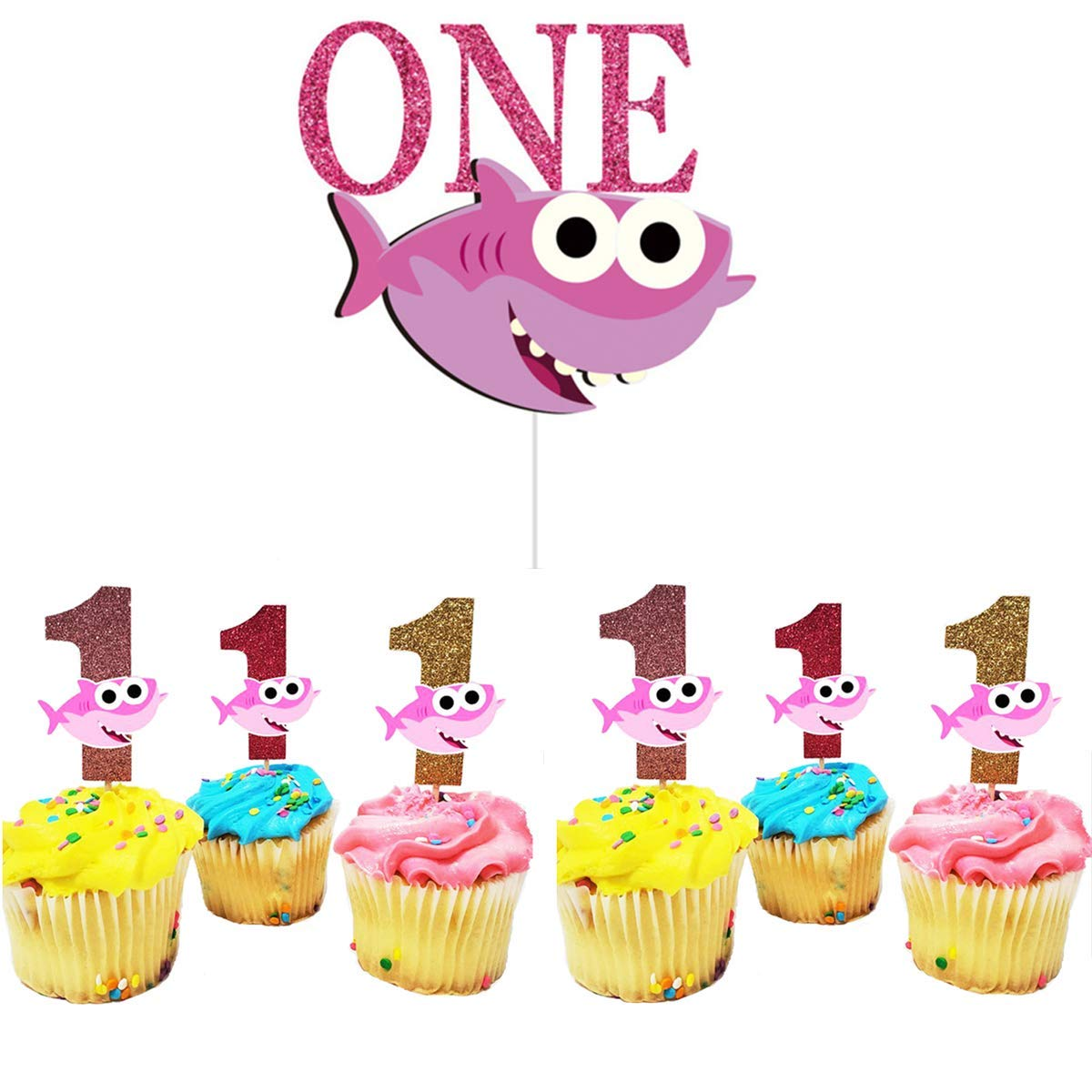 Cool One Birthday Cake Topper With 1St Cupcake Toppers Shark Birthday Personalised Birthday Cards Cominlily Jamesorg