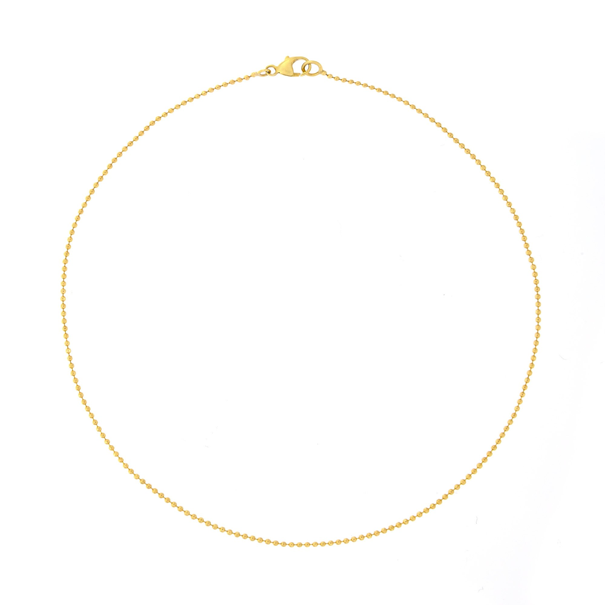 Automic Gold Solid 14k Yellow Gold Bead Choker Necklace, 15''
