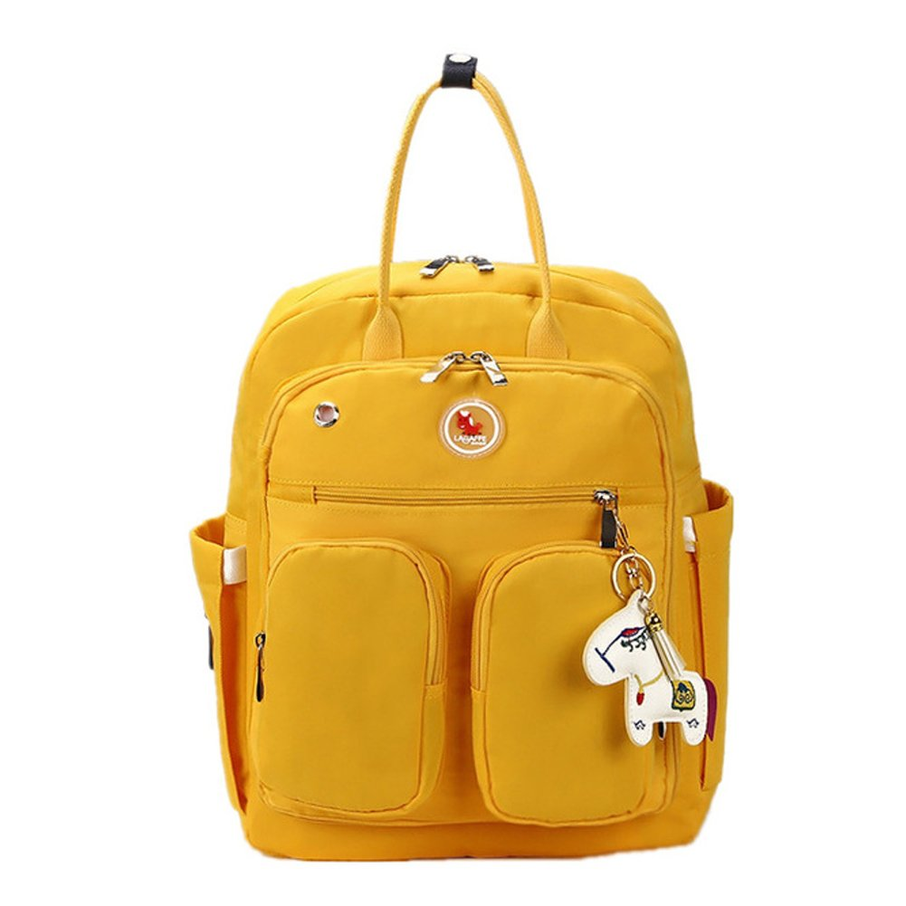 Baby Diaper Bag, LAGAFFE Multi-functional Nappy Bags Waterproof Travel Mom Backpack for Baby Care, Large Capacity Nursing Bag Top Handle Handbag (Yellow)