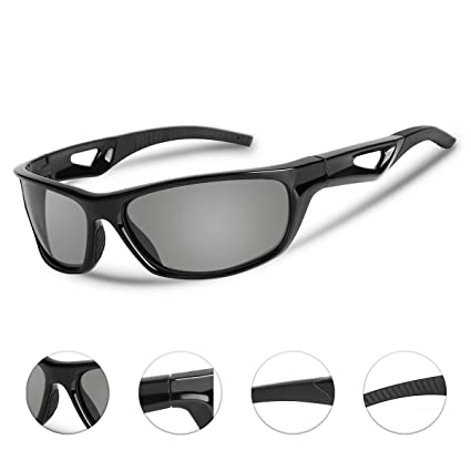 041f100e4c ... Polarized Sports Sunglasses for Men Women UV Protection TR90 Frame PC  Lens Lightweight Outdoor Eyewear for Cycling Fishing Running Driving Golf  Baseball
