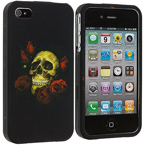 iPhone 4 4S Case, TechSpec(TM) Rose Skull Hard Rubberized Design Case Cover for Apple iPhone 4 / 4S