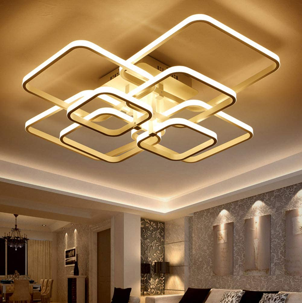 Amazon Com Led Ceiling Light Fixture With Remote Control Chandelier Modern Acrylic Lighting Flush Mount Lamp 8 Heads For Dining Room Bedroom Square Kitchen Light Fixtures Dimmable Light Color Changeable White Home Improvement