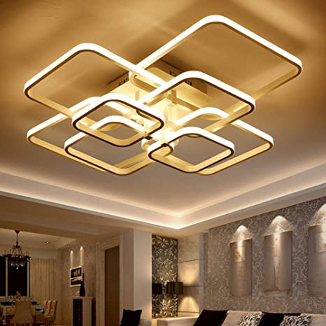 Led Ceiling Light Fixture With Remote Control Chandelier Modern Acrylic Lighting Flush Mount Lamp 8 Heads For Dining Room Bedroom Square Kitchen Light Fixtures Dimmable Light Color Changeable White Amazon Com