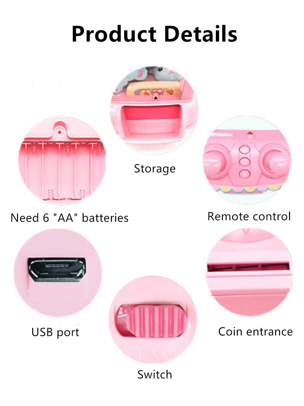 ForBEST Claw Machine Doll Machine with Removable Remote Control, USB Cable, 6 Dolls, Adjustable Sounds and Lights, Best Gift Toy for Kids (Pink) by For BEST (Image #3)
