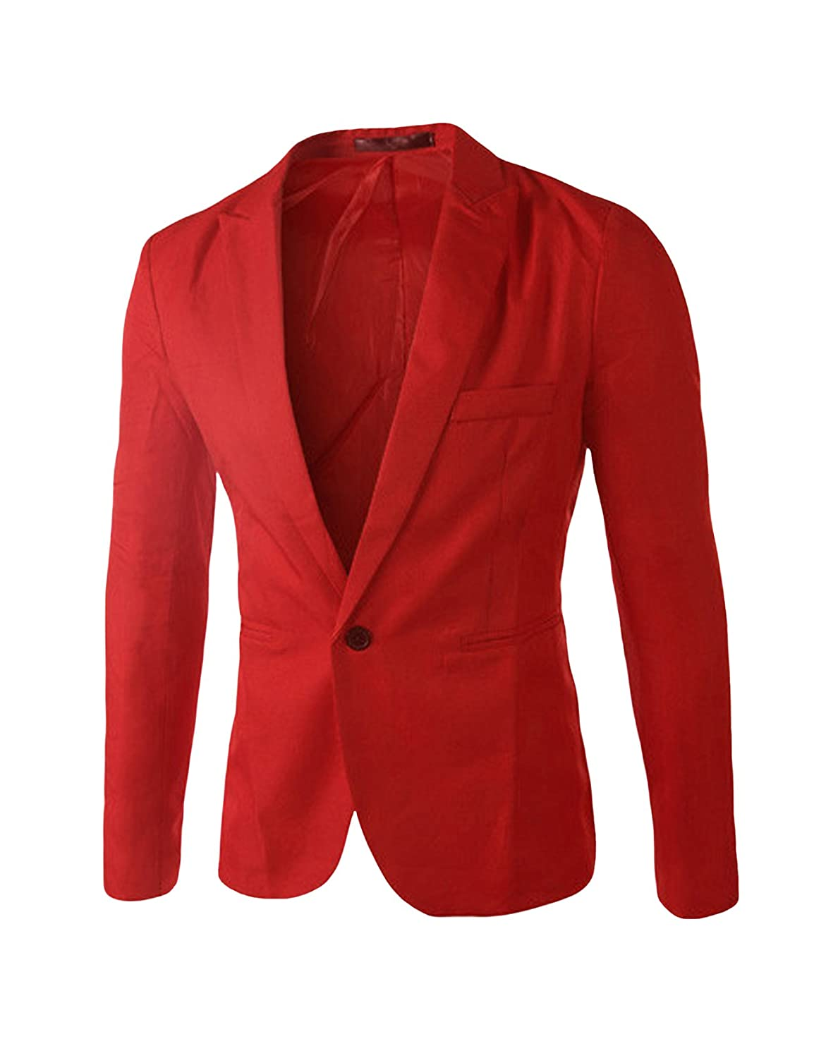 Bestgift Men's Solid Color Slim One Button Blazer BSGFNC0274