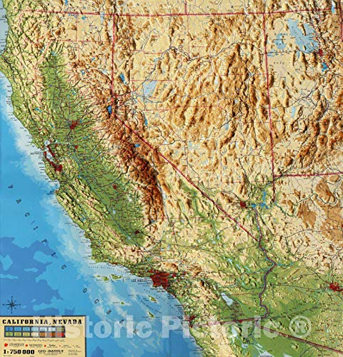 Historic Map | Wall Map, California - Printed Reproduction of Physical (Raised Relief) Map, 1997, | Vintage Wall Art | 24in x 24in
