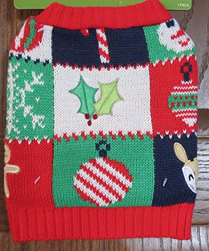 Pet Ugly Christmas Sweater Reindeer Gingerbread Man Holly XS ()