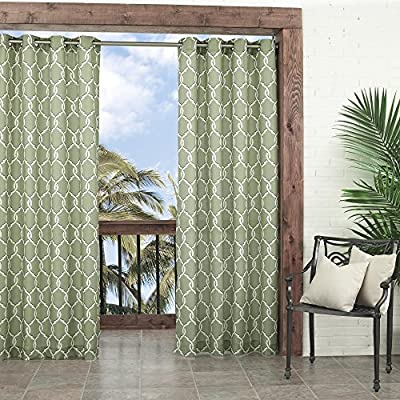 Parasol 14028052095LIM Totten Key 52-Inch by 95-Inch Trellis Indoor / Outdoor Single Curtain Panel, Lime - Versatile enough for both indoor and outdoor spaces - porches, patios, sunrooms and more Easy to slide decorative rust-proof grommets Weather resistant - living-room-soft-furnishings, living-room, draperies-curtains-shades - 61Eql0zyKKL. SS400  -