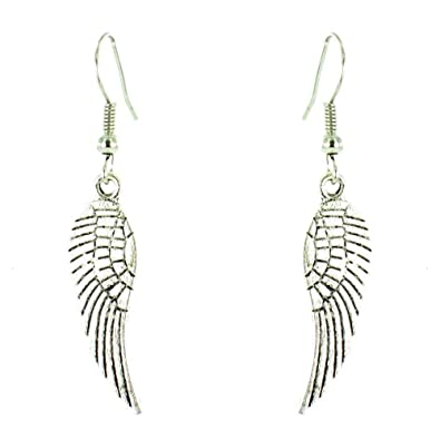Earrings - SODIAL(R) one pair of Angel Wings Rhinestone Crystal Long Earrings Black vy03f